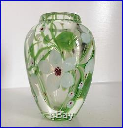 Very Fine Orient & Flume Art Glass Vase Paperweight Flowers & Vines Signed