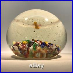 Very Rare Chinese Art Glass Paperweight Lampwork Dragonfly & Millefiori Scramble