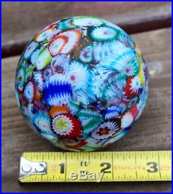 Vintage 1885 Matte Millefiori Scrambled Cane Art Glass Marble Paperweight Murano