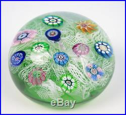 Vintage 1971 Perthshire Green Ground Spaced Millefiore Paperweight Early Glass