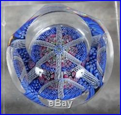 Vintage 1976 Whitefriars 5 Side Millefiori Latticino Cane Paperweight Orig Label