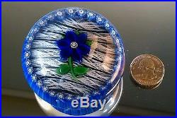 Vintage 1981 Perthshire Floral Flower Paperweight Thin Ribbons Close Millefiori