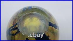 Vintage 1982 Josh Simpson Floral Art Glass Paperweight Vase