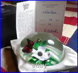 Vintage 1983 Selkirk Glass Paperweight Wild Rose Peter Holmes 34/75