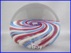 Vintage Art Glass- Scottish Perthshire Ribbon Paperweight- Dated Cane- #127