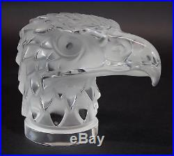 Vintage Authentic Signed Lalique France Art Glass Eagle Head Paperweight, NR