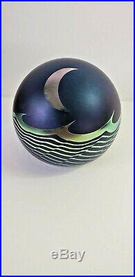 Vintage CORREIA Art Glass IRIDESCENT Moon and Waves Frosted Purple Paperweight