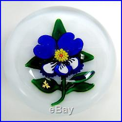 Vintage Charles Kaziun JR PANSY glass paperweight with gold bee