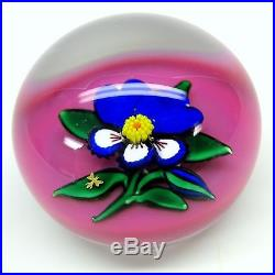 Vintage Charles Kaziun JR pink background PANSY paperweight with gold bee