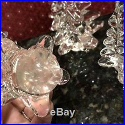 Vintage Clear Heavy Crystal Christmas Tree Paperweight Art Glass Set of 5