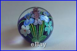 Vintage Ed Seaira Orient and Flume Iridescent Floral Bouquet Paperweight 1981