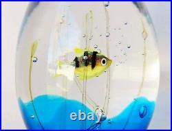 Vintage Elio Raffaeli Oggetti 5.5 Murano Fish Aquarium Art Glass Paperweight