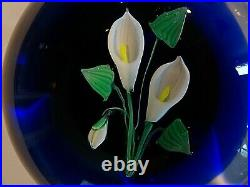 Vintage FRANCIS WHITTEMORE Glass Lampwork Calla Lily Paperweight
