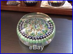 Vintage Flat Top Perthshire Glass Paper Weight Ribbons Lattice Millefiore