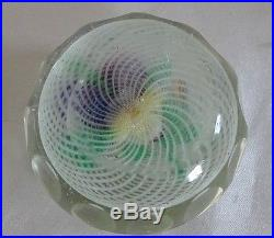 Vintage Glass Faceted Paperweight Pansies on a Spiral White Layer