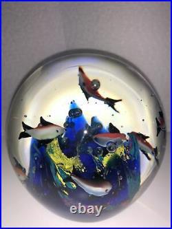 Vintage Italian Murano Aquarium with Neon Fish, Coral Art Glass Paperweight