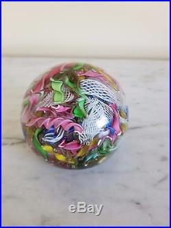Vintage Italy MURANO Latticino LACE Ribbon Paperweight Tutti Fruitti
