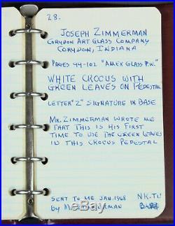 Vintage Joe Zimmerman White Crocus Footed Glass Paperweight