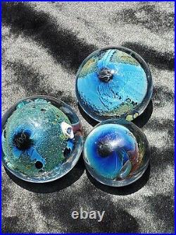 Vintage Josh Simpson Glass Eye Studio Paperweight Inhabited Planet Art Deco Lot