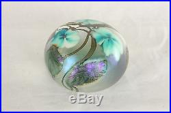 Vintage Lotton Signed Art Glass Green & White 1991 Iridized Floral Paperweight