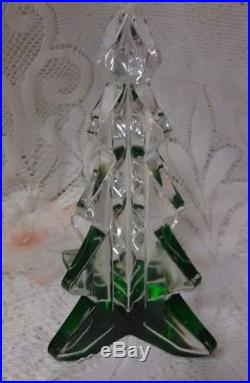 Vintage Mikasa Art Green Clear Glass Crystal Figurine Christmas Tree Paperweight