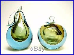 Vintage Murano Alfredo Barbini Venetian 1950 Art Glass Apple & Pear Paperweight