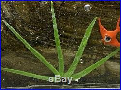 Vintage Murano Art Glass Fish Aquarium Fused Block Paperweight Sculpture 11.5