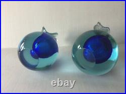 Vintage Murano Art Glass Fruits Pear and Apple Bookends/Paperweights