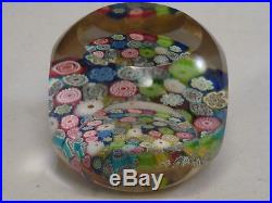Vintage Murano Art Glass Paperweight Closepacked Millefiori Complex Faceted