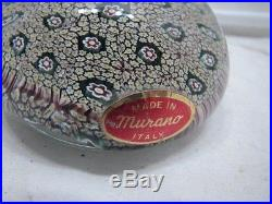 Vintage Murano Art Glass Paperweight Floral Flower Millefiori withLabel A