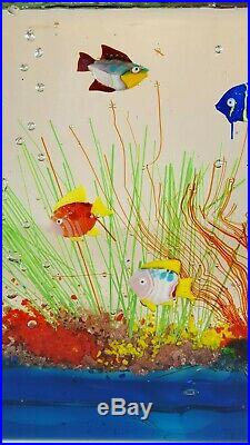 Vintage Murano Italian Art Glass Fish Aquarium Large Paperweight Sculpture Decor