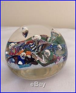 Vintage Murano Vinini Millefiori & Scramble Latticino Cane Art Glass Paperweight
