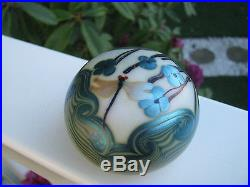 Vintage ORIENT AND FLUME DRAGONFLY PAPERWEIGHT Iridescent, Aqua Floral, 3, 1975