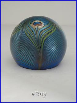 Vintage ORIENT & FLUME Pulled Peacock Feather Paperweight Signed 185 July 1979