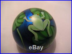 Vintage Orient & Flume Art Glass Paperweight Blue Aurene Frog & Lilypads Box ETC