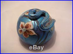 Vintage Orient & Flume Art Glass Paperweight Blue Aurene Snake Flowers Box ETC