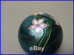 Vintage Orient & Flume Blue Iridescent Art Glass Paperweight, Signed, Dated 1980
