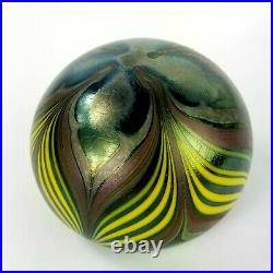 Vintage Orient & Flume Floral Pulled Feather Art Glass Paperweight