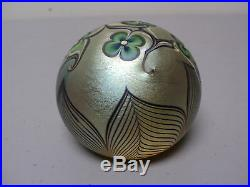 Vintage Orient & Flume Gold Iridescent Art Glass Paperweight, Signed, Dated 1978