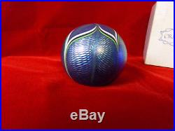 Vintage Orient & Flume Iridescent Pulled Feather 1978 Blown Glass Paperweight