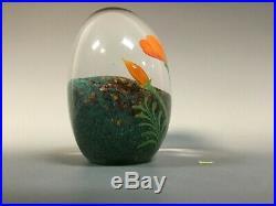Vintage Orient and Flume Art Glass Scott Beyers Poppy Aventurine Paperweight