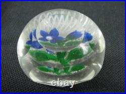 Vintage PERTHSHIRE Glass Faceted Blue Flowers 2 1/2 Paperweight Scotland