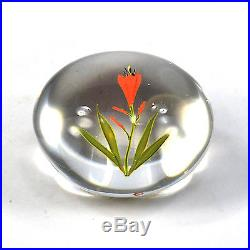 Vintage Paul Stankard art form paperweight Day Lily bud & green leaves & stem