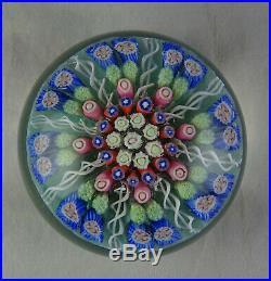 Vintage Perthshire Art Glass Paperweight Light Green Ground 8 Spokes Millefiori