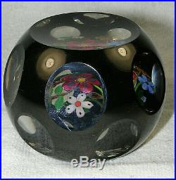 Vintage Perthshire Black Overlay COLORFUL BOUQUET Paperweight 194
