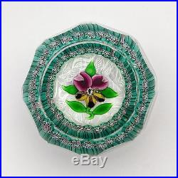 Vintage Perthshire LE 1971B garlanded pansy glass paperweight / presse papiers