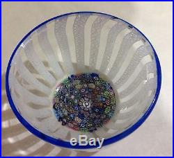 Vintage Perthshire P Cane Latticino & Millefiori Glass Paperweight Bowl