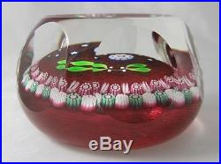 Vintage Perthshire Paperweight Stars Bird with Cranberry Ground Faceted