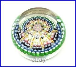 Vintage Perthshire Twist Ribbon & Millefiori Concave Glass Paperweight P Cane