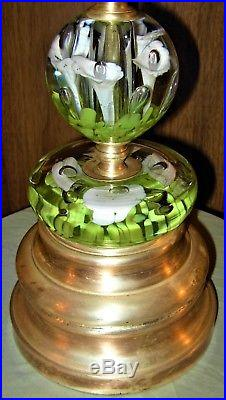 Vintage Rare 4 Tier Brass Base St. Clair Floral Glass Paperweight Table Lamp